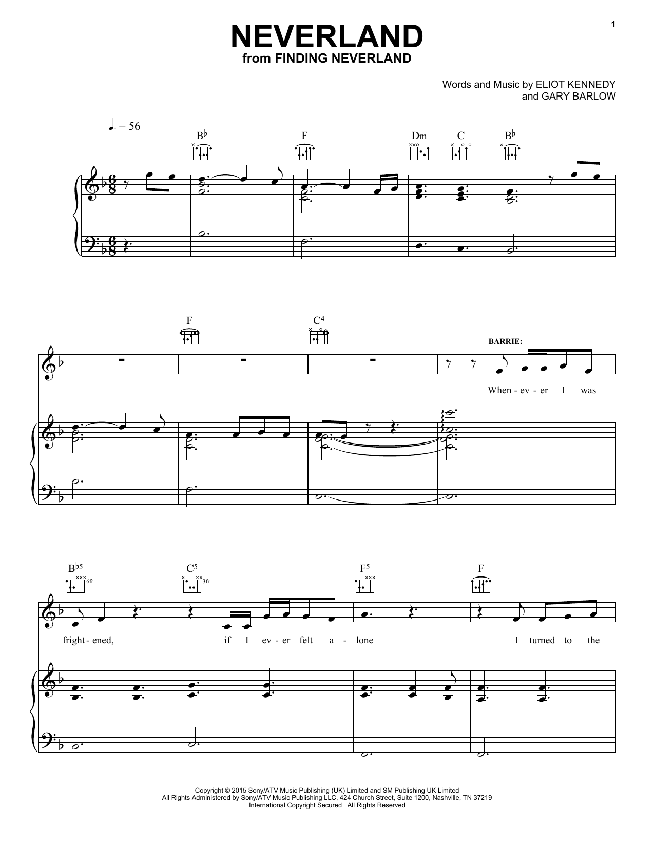 Gary Barlow & Eliot Kennedy Neverland sheet music notes and chords. Download Printable PDF.
