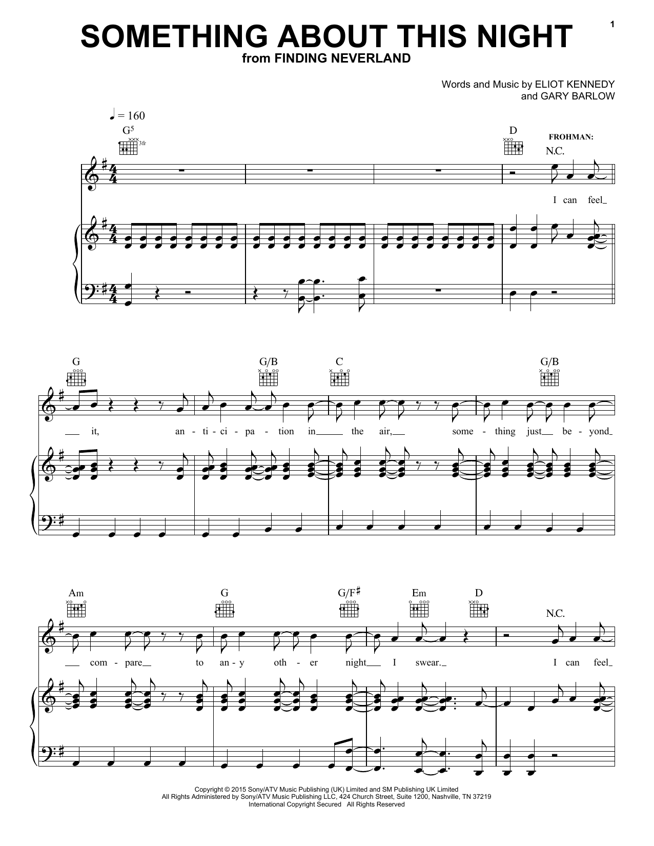 Gary Barlow & Eliot Kennedy Something About This Night sheet music notes and chords. Download Printable PDF.