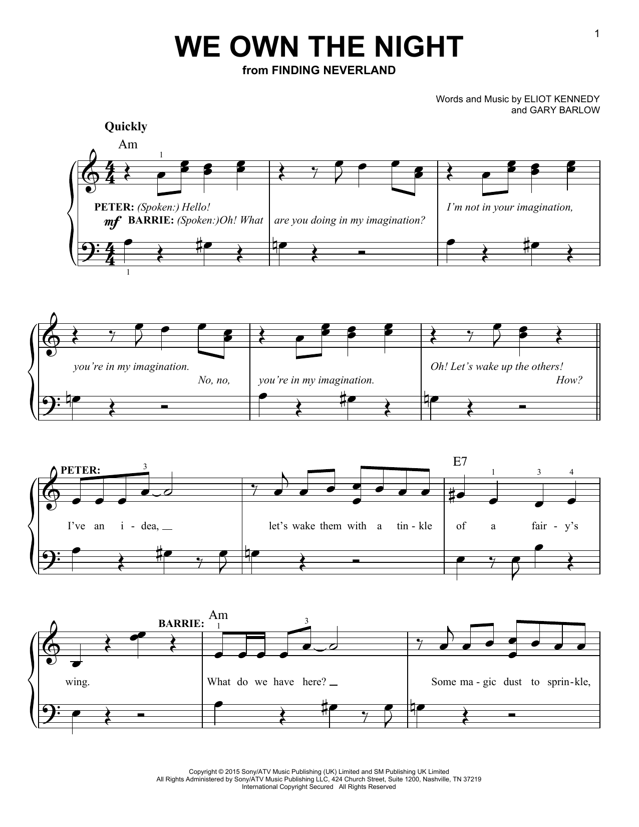 Gary Barlow & Eliot Kennedy We Own The Night (from 'Finding Neverland') sheet music notes and chords. Download Printable PDF.