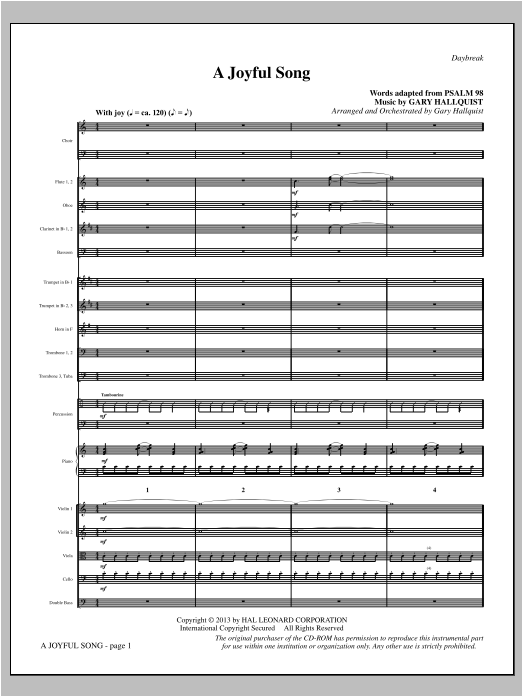 Gary Hallquist A Joyful Song - Full Score sheet music notes and chords. Download Printable PDF.