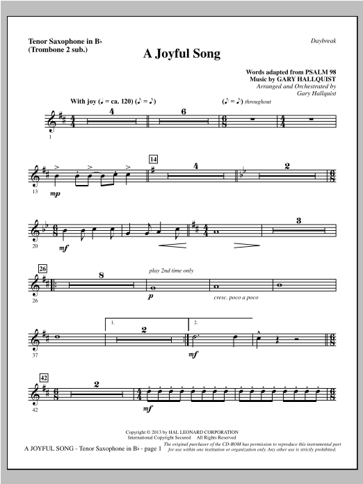 Gary Hallquist A Joyful Song - Tenor Sax (sub. Tbn 2) sheet music notes and chords. Download Printable PDF.