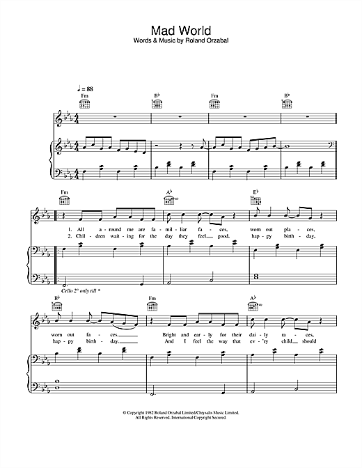 Gary Jules & Michael Andrews Mad World (from Donnie Darko) sheet music notes and chords. Download Printable PDF.