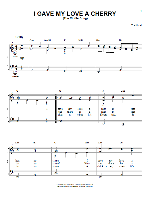 Gary Meisner I Gave My Love A Cherry (The Riddle Song) sheet music notes and chords. Download Printable PDF.