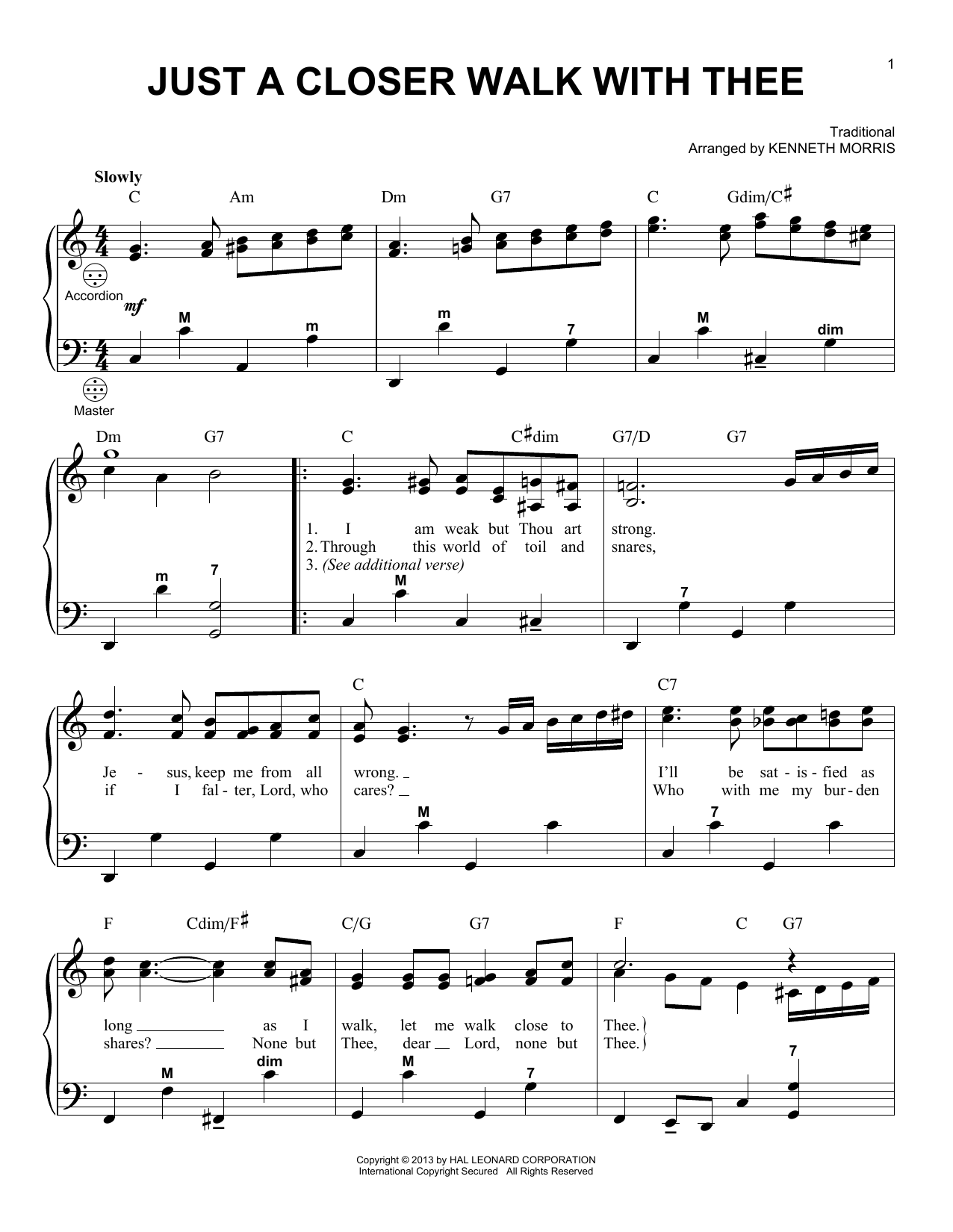 Gary Meisner 'Just A Closer Walk With Thee' Sheet Music Notes, Chords |  Download Printable Accordion - SKU: 98483