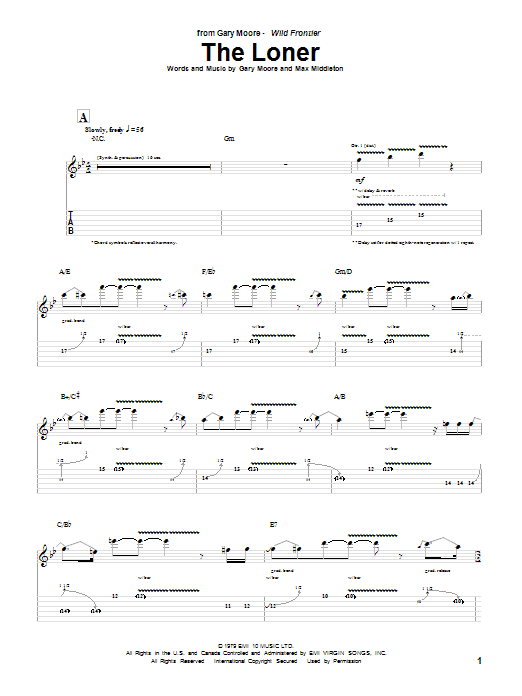 Gary Moore The Loner sheet music notes and chords