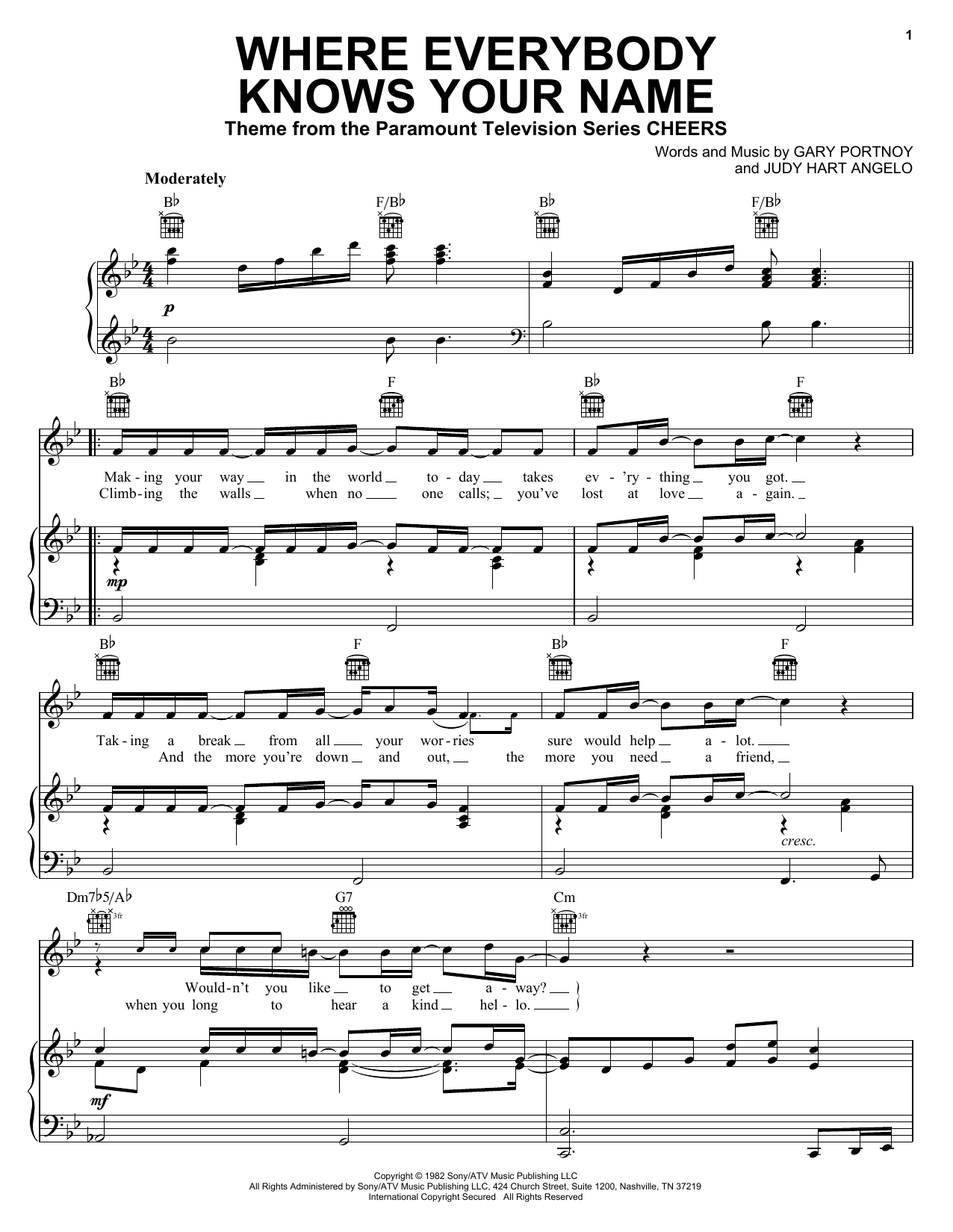 Gary Portnoy Where Everybody Knows Your Name sheet music notes and chords. Download Printable PDF.