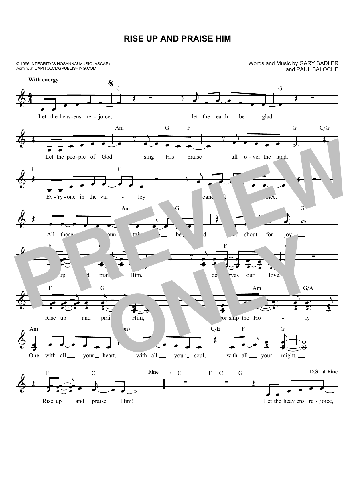 Gary Sadler Rise Up And Praise Him sheet music notes and chords. Download Printable PDF.