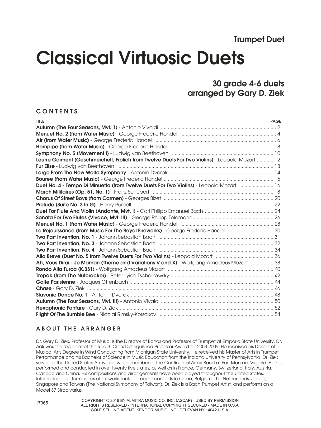 Gary Ziek Classic Virtuosic Duets (30 Grade 4-6 Duets) sheet music notes and chords