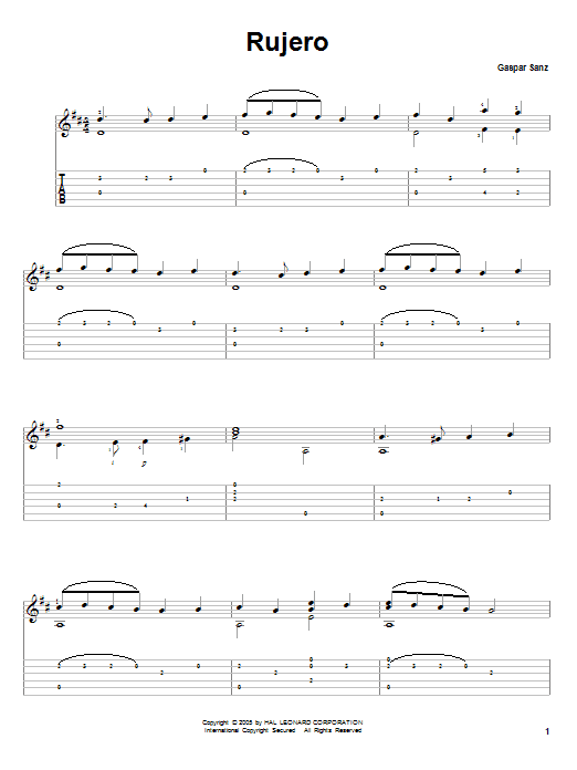 Gaspar Sanz Rujero sheet music notes and chords