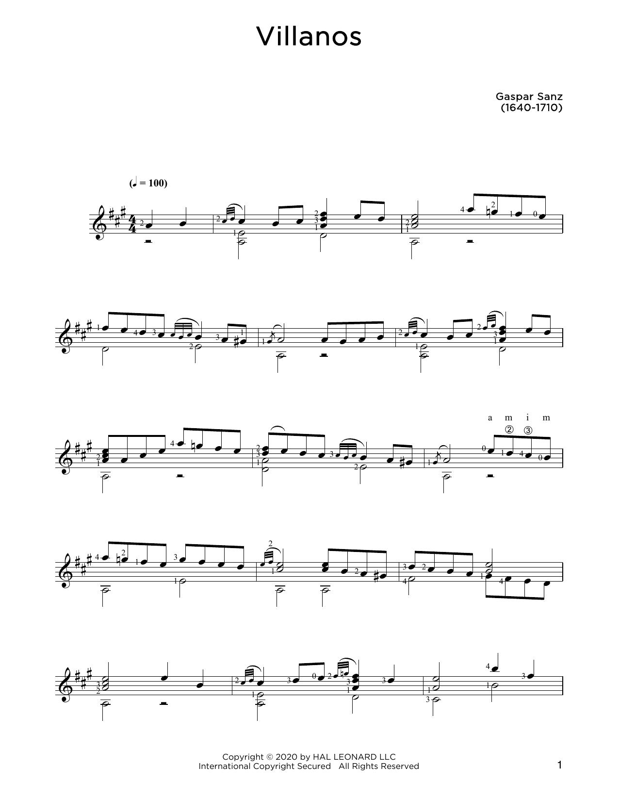 Gaspar Sanz Villanos sheet music notes and chords. Download Printable PDF.