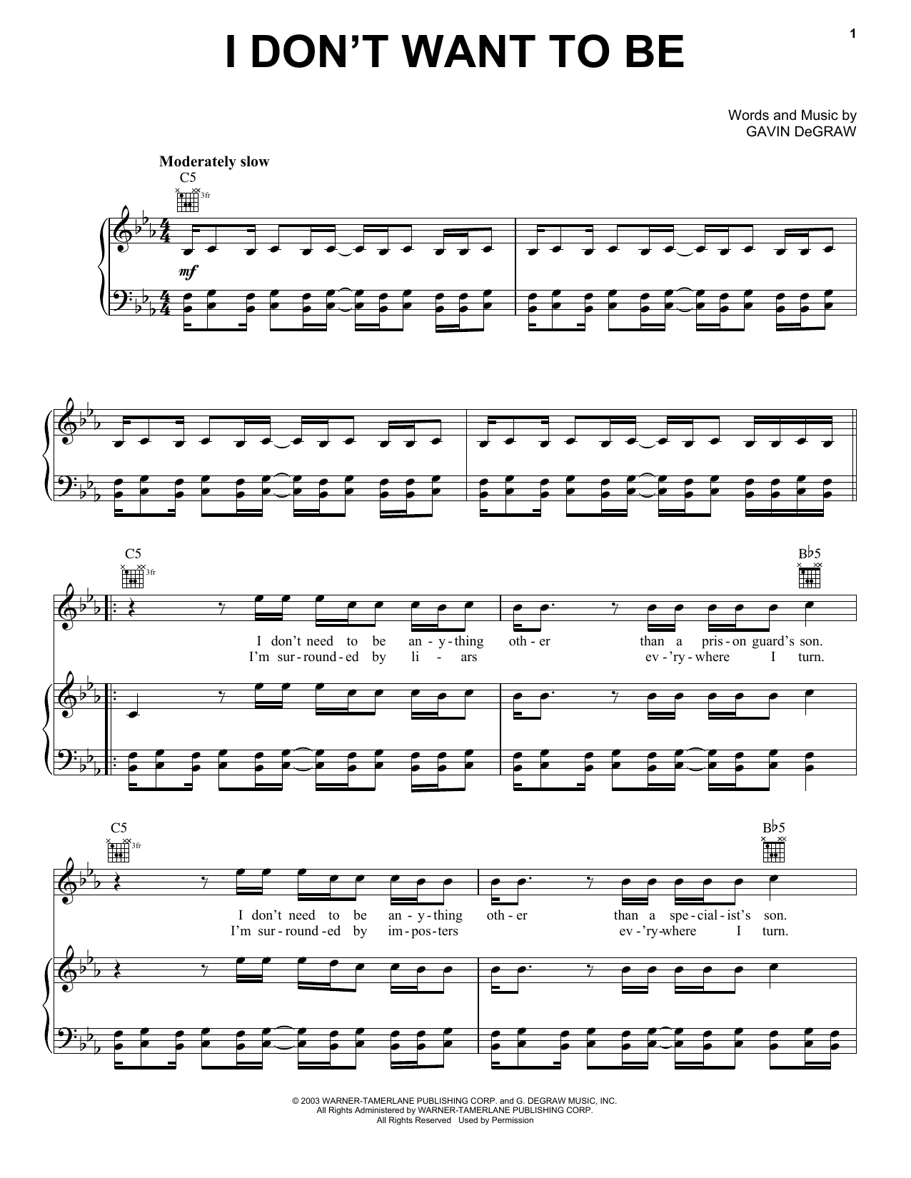 Gavin DeGraw I Don't Want To Be Sheet Music Notes, Chords   Download  Printable Piano, Vocal & Guitar Right Hand Melody PDF Score   SKU 15