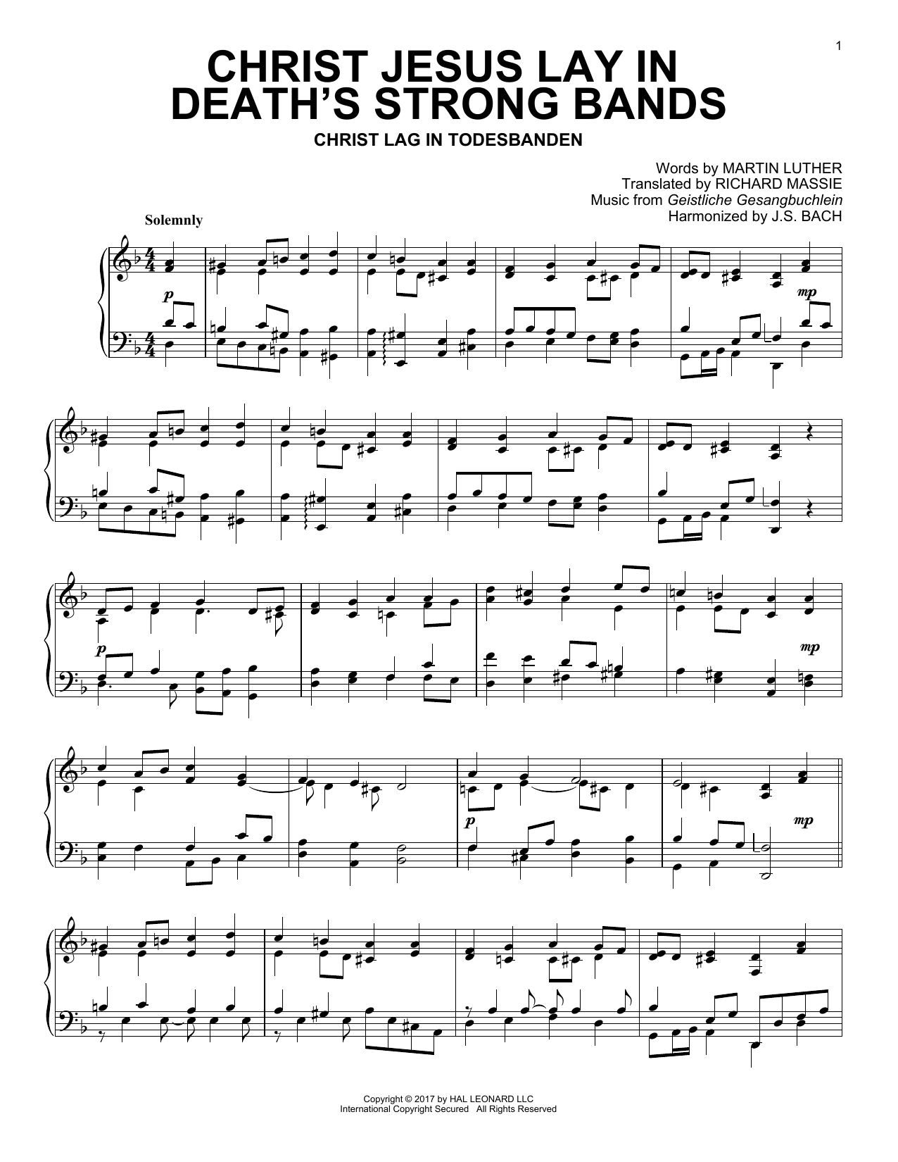 Geistliche Gesangbuchlein Christ Jesus Lay In Death's Strong Bands sheet music notes and chords