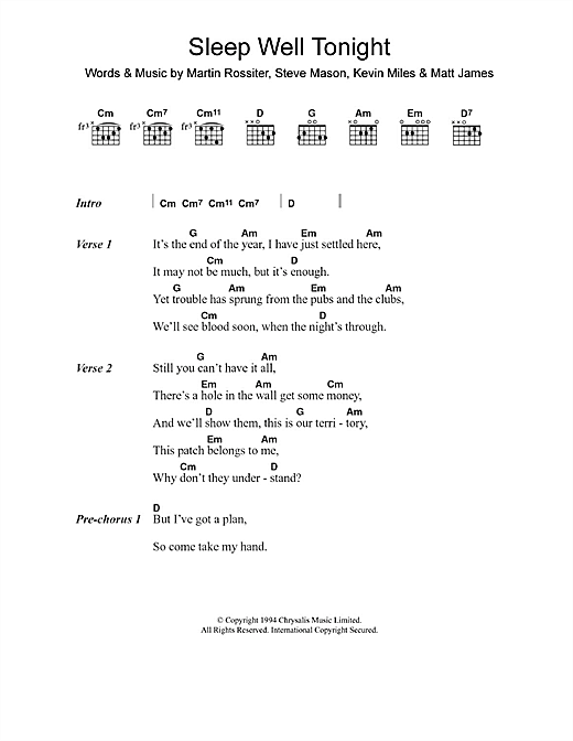 Gene Sleep Well Tonight sheet music notes and chords. Download Printable PDF.