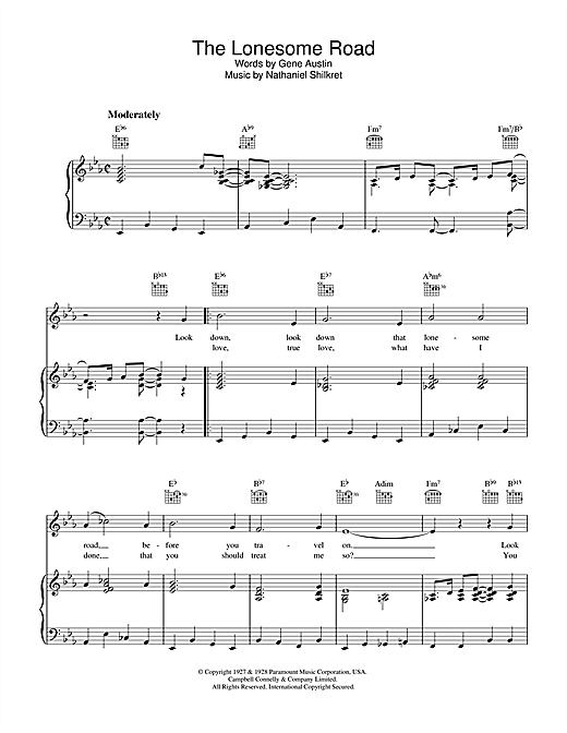 Gene Austin The Lonesome Road sheet music notes and chords. Download Printable PDF.