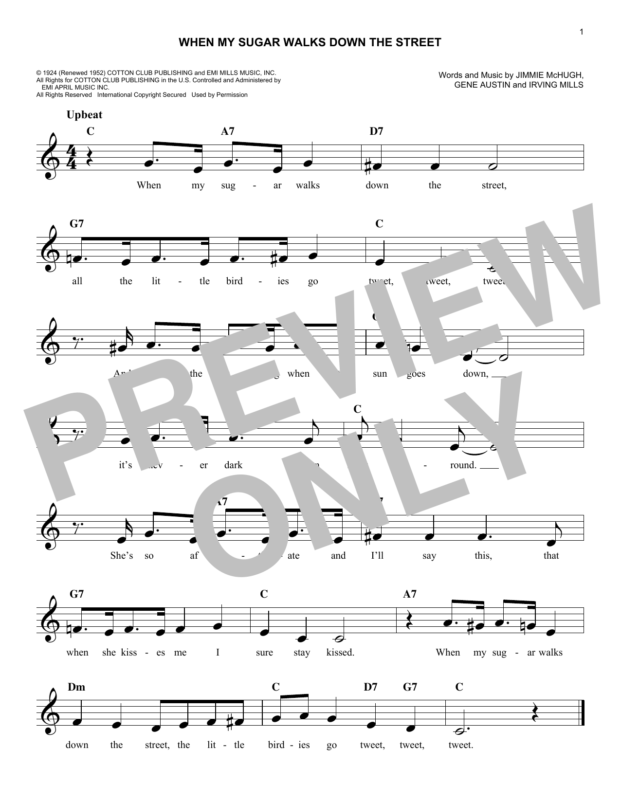 Gene Austin When My Sugar Walks Down The Street sheet music notes and chords. Download Printable PDF.
