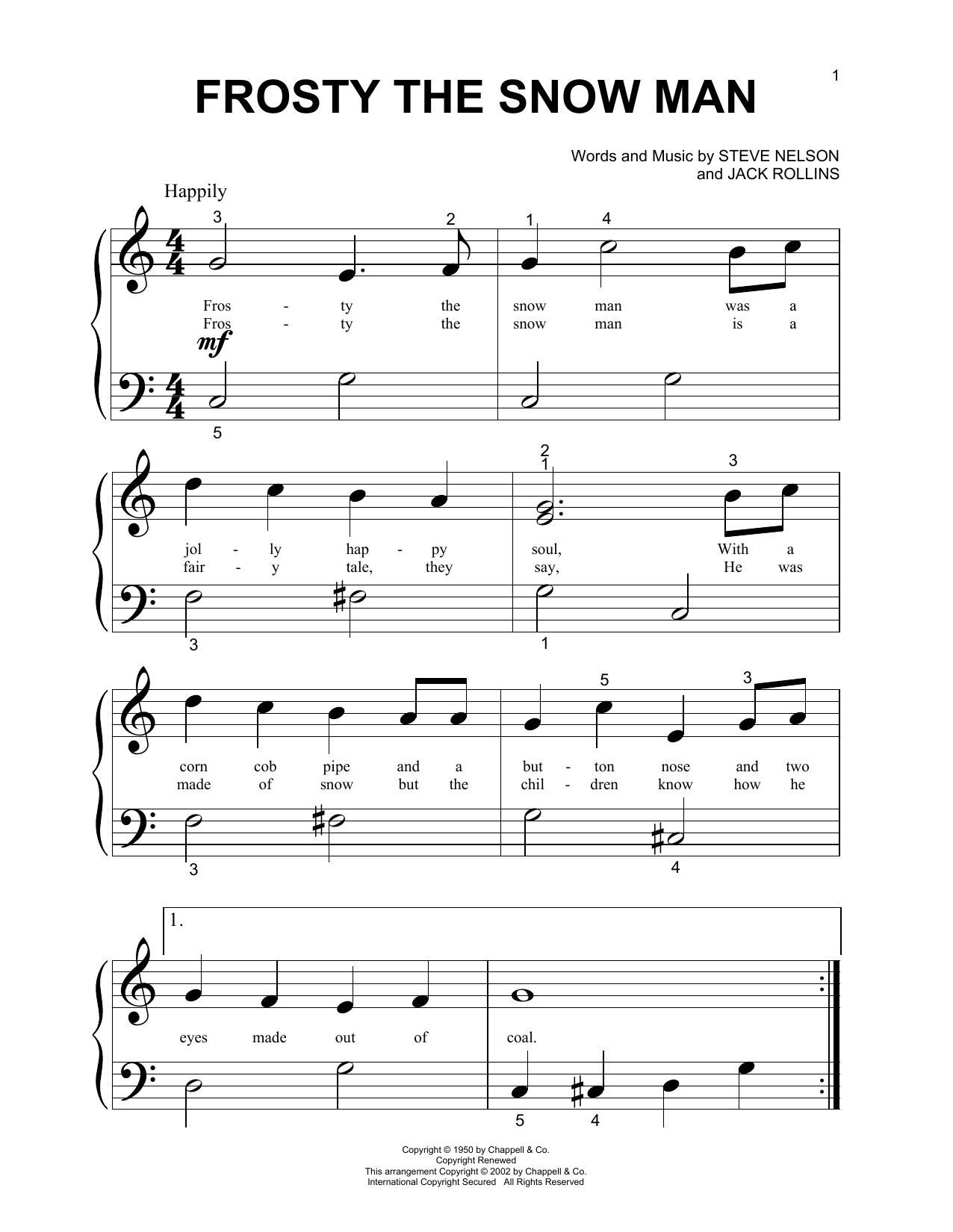 Gene Autry Frosty The Snow Man sheet music notes and chords