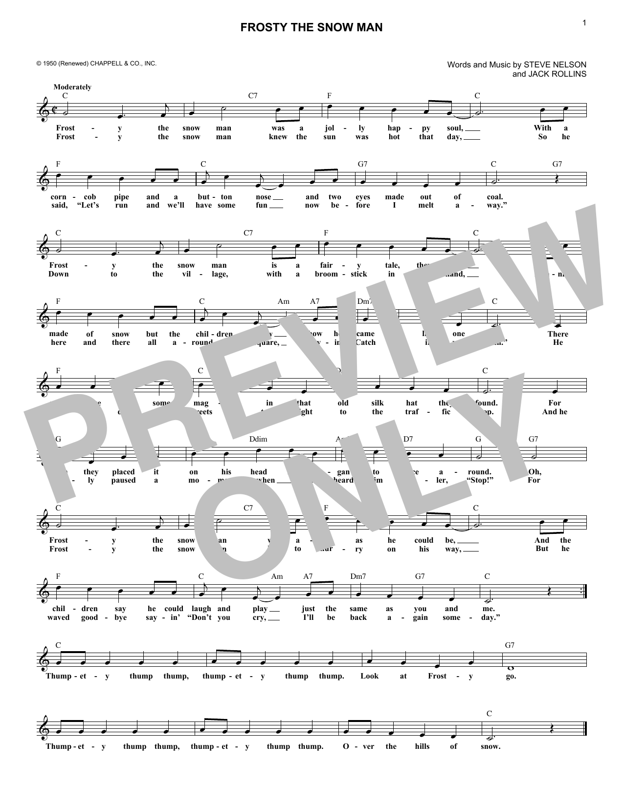 Gene Autry Frosty The Snowman sheet music notes and chords. Download Printable PDF.