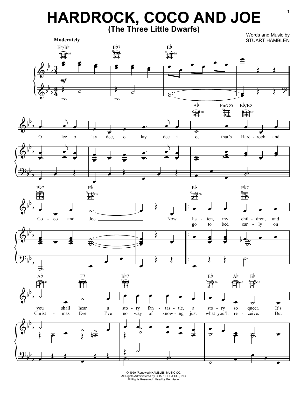Gene Autry Hardrock, Coco and Joe (The Three Little Dwarfs) sheet music notes and chords. Download Printable PDF.