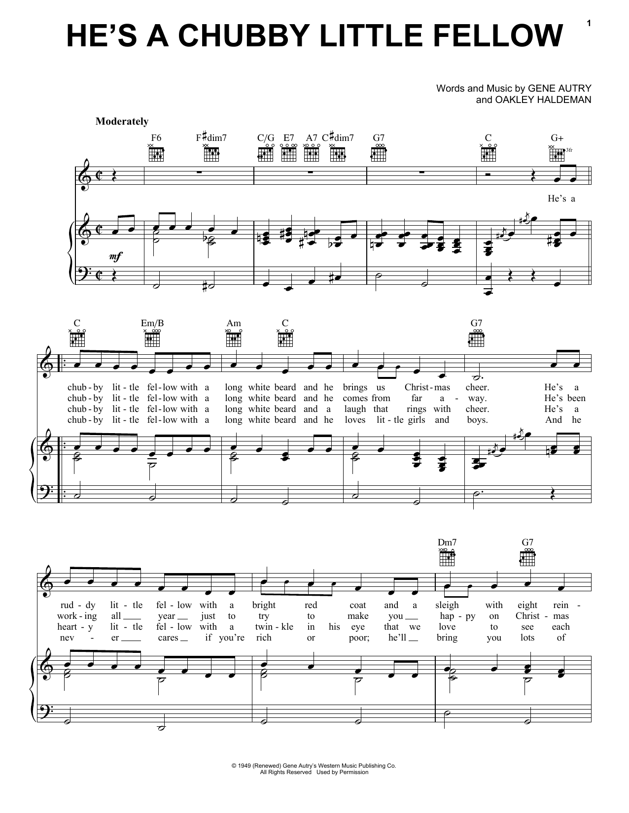 Gene Autry He's A Chubby Little Fellow sheet music notes and chords. Download Printable PDF.