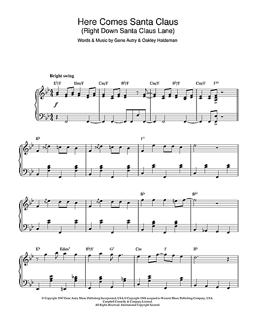 Gene Autry Here Comes Santa Claus (Right Down Santa Claus Lane) (jazz version) sheet music notes and chords