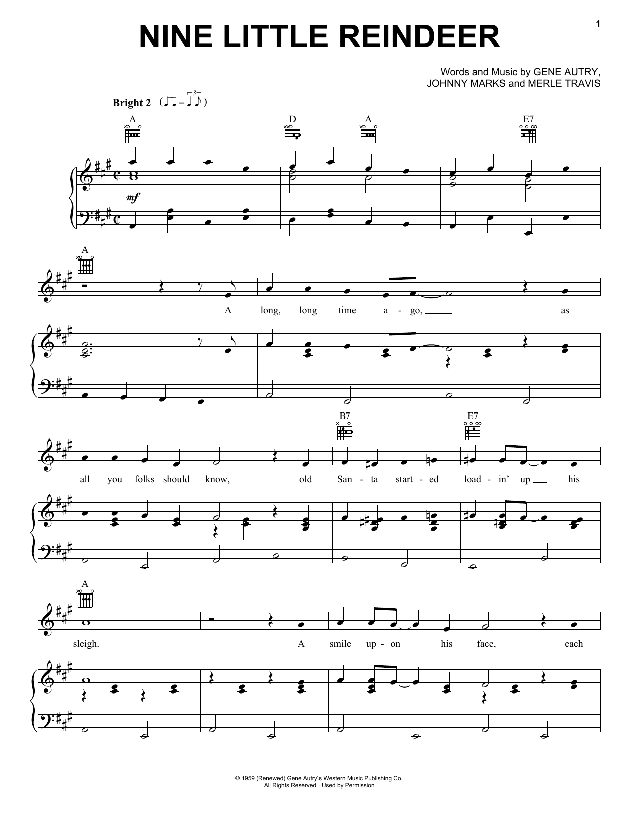 Gene Autry Nine Little Reindeer sheet music notes and chords. Download Printable PDF.