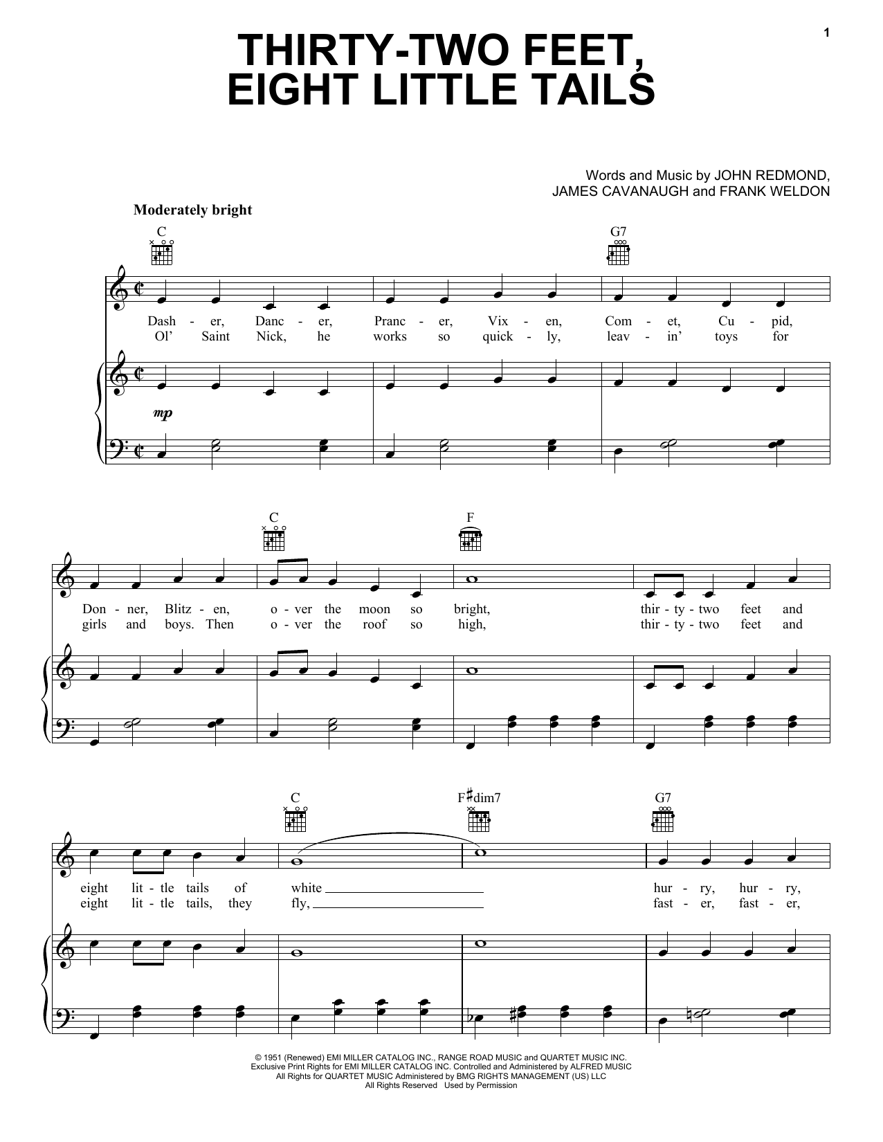 Gene Autry Thirty-Two Feet, Eight Little Tails sheet music notes and chords. Download Printable PDF.