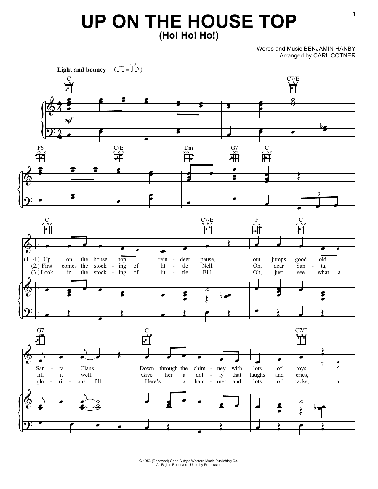 Gene Autry Up On The House Top (Ho! Ho! Ho!) sheet music notes and chords. Download Printable PDF.