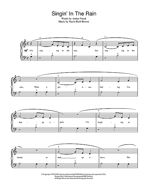 Gene Kelly Singin' In The Rain sheet music notes and chords. Download Printable PDF.