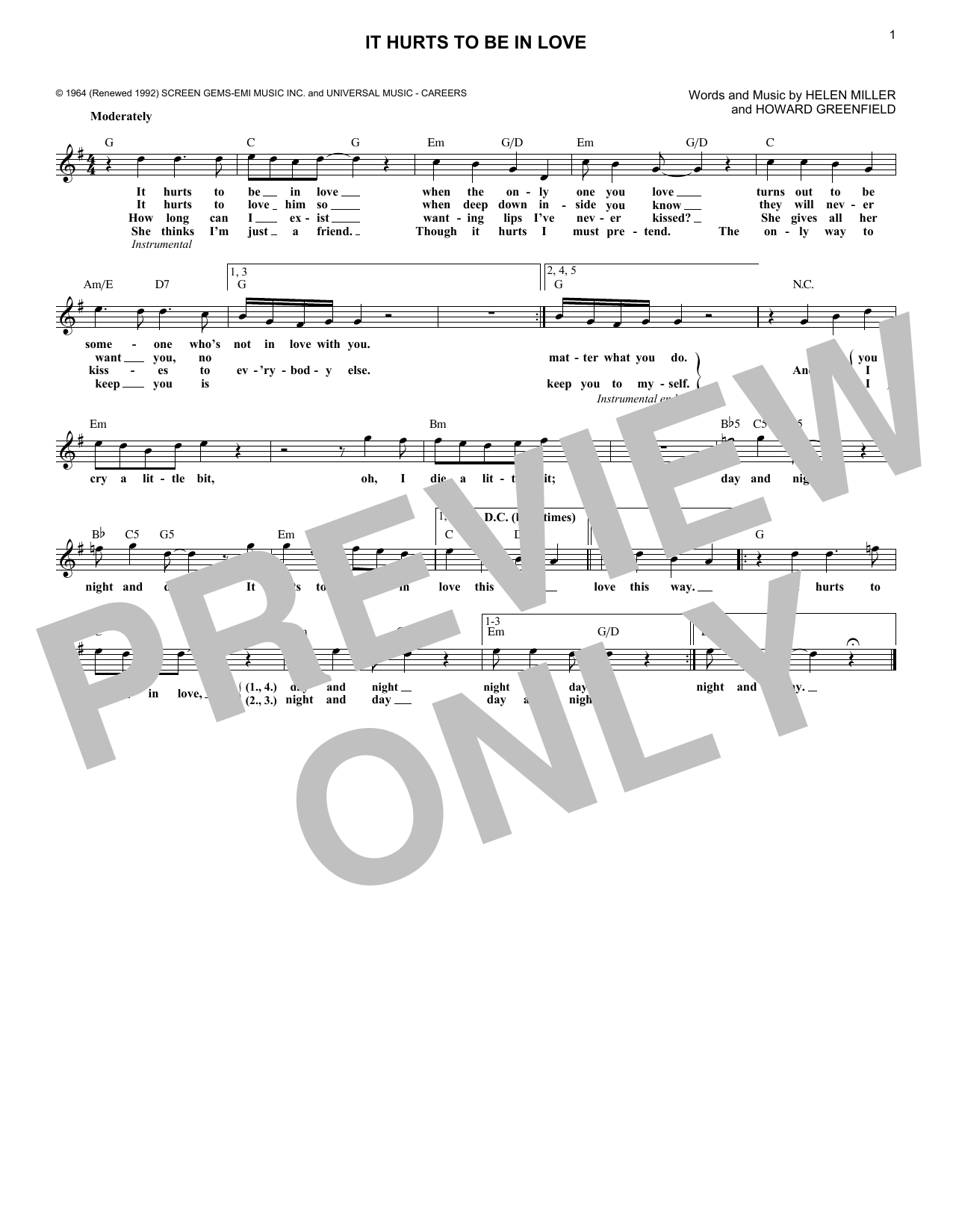 Gene Pitney It Hurts To Be In Love sheet music notes and chords. Download Printable PDF.