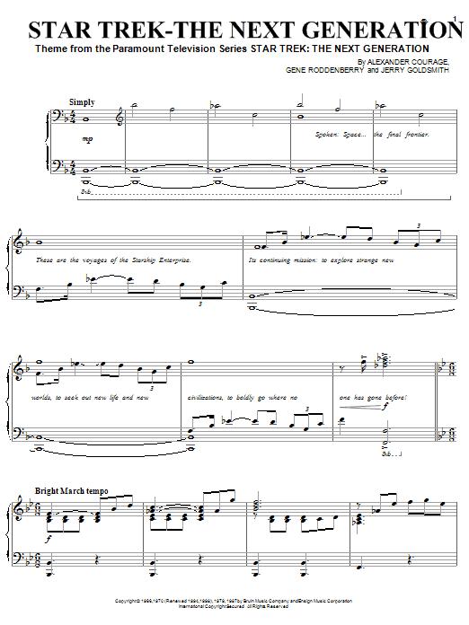 Gene Roddenberry Star Trek - The Next Generation(R) sheet music notes and chords