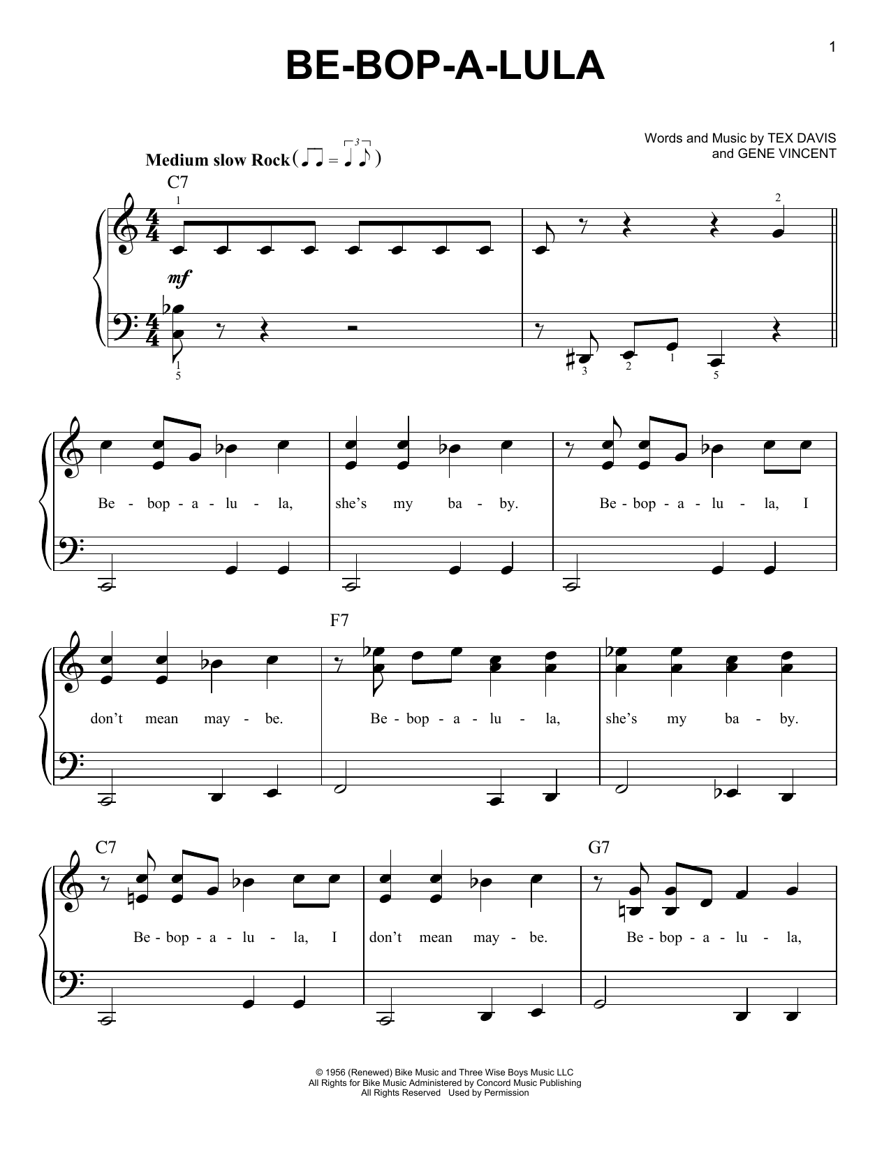 Gene Vincent Be-Bop-A-Lula sheet music notes and chords. Download Printable PDF.