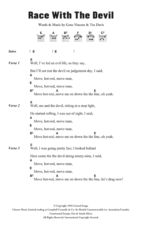 Gene Vincent & His Blue Caps Race With The Devil sheet music notes and chords. Download Printable PDF.