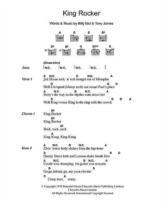 Generation X King Rocker sheet music notes and chords. Download Printable PDF.