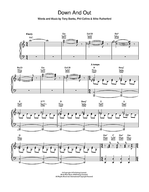 Genesis Down And Out sheet music notes and chords. Download Printable PDF.