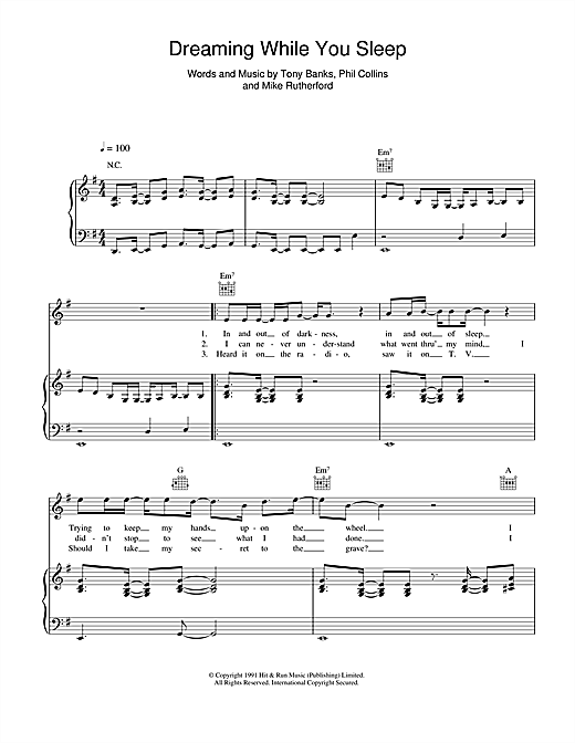 Genesis Dreaming While You Sleep sheet music notes and chords. Download Printable PDF.