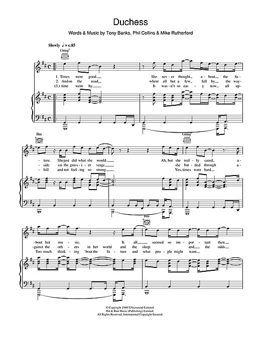 Genesis Duchess sheet music notes and chords. Download Printable PDF.