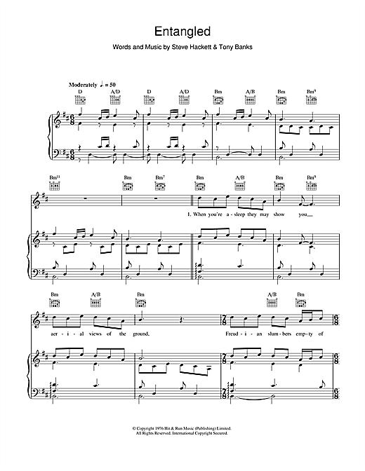 Genesis Entangled sheet music notes and chords. Download Printable PDF.
