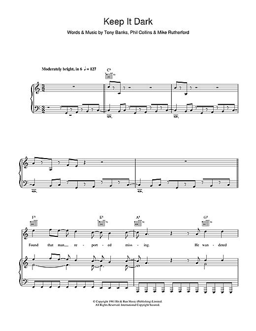 Genesis Keep It Dark sheet music notes and chords. Download Printable PDF.