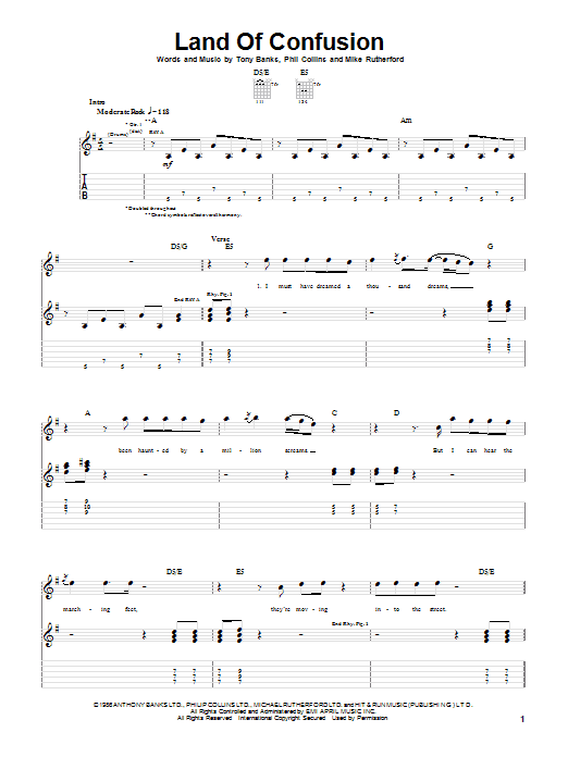 Genesis Land Of Confusion sheet music notes and chords