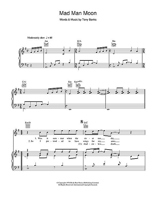 Genesis Mad Man Moon sheet music notes and chords. Download Printable PDF.