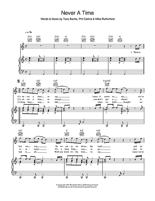 Genesis Never A Time sheet music notes and chords. Download Printable PDF.