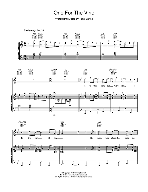 Genesis One For The Vine sheet music notes and chords. Download Printable PDF.