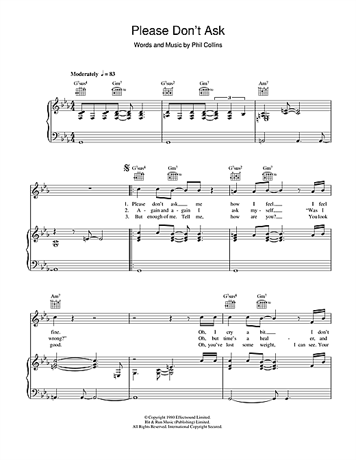 Genesis Please Don't Ask sheet music notes and chords. Download Printable PDF.