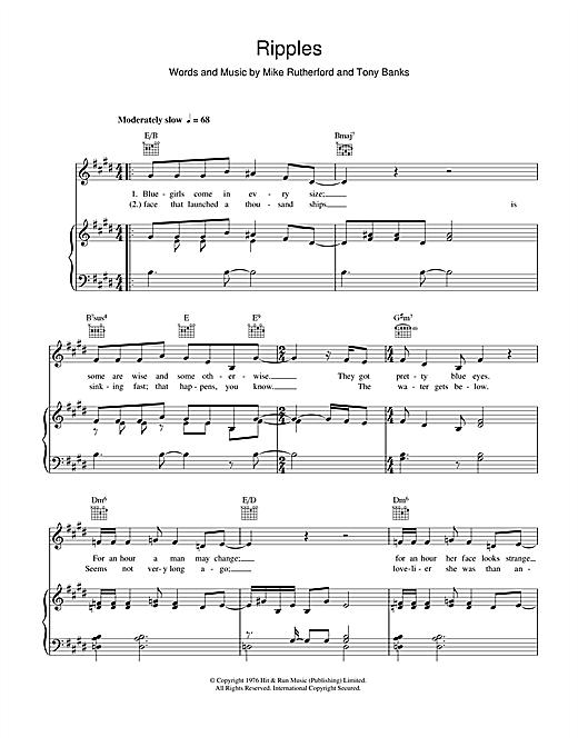 Genesis Ripples sheet music notes and chords. Download Printable PDF.