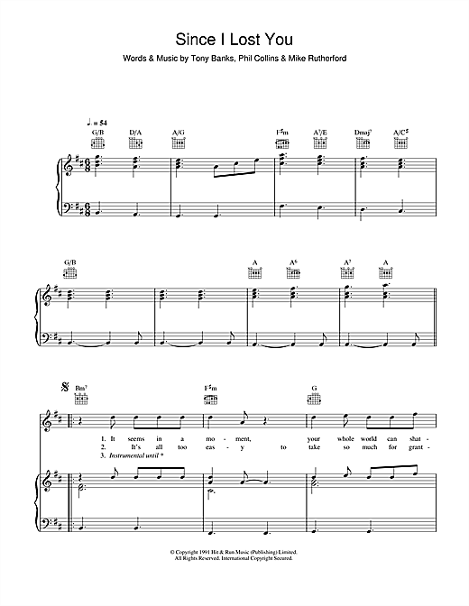 Genesis Since I Lost You sheet music notes and chords. Download Printable PDF.