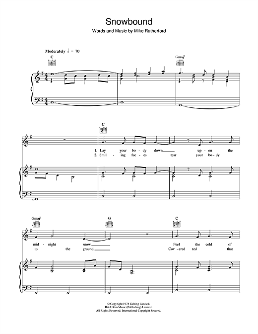 Genesis Snowbound sheet music notes and chords. Download Printable PDF.