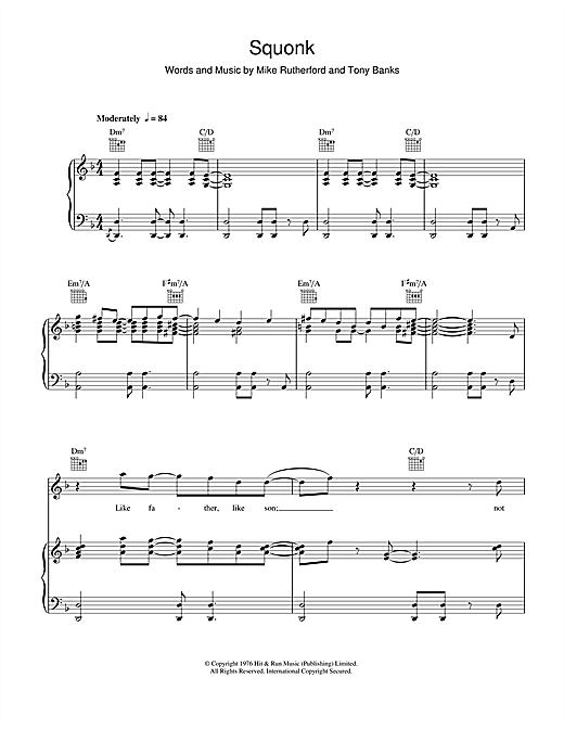 Genesis Squonk sheet music notes and chords. Download Printable PDF.