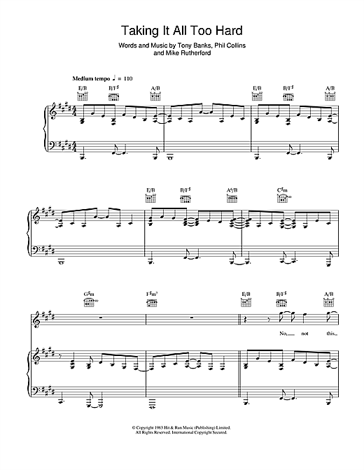 Genesis Taking It All Too Hard sheet music notes and chords. Download Printable PDF.