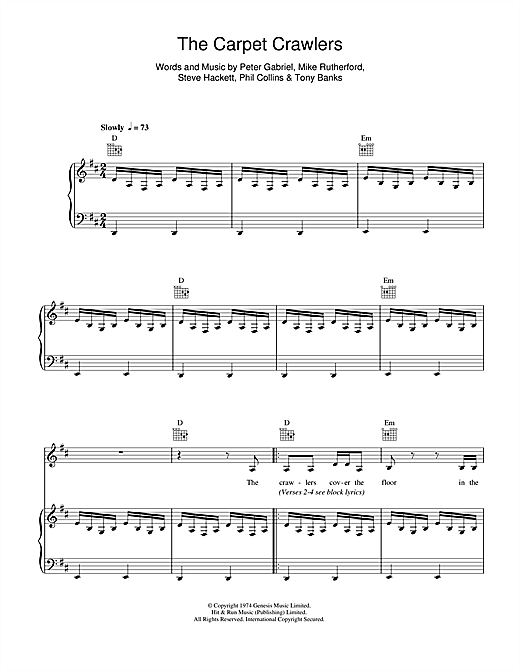 Genesis The Carpet Crawlers sheet music notes and chords. Download Printable PDF.