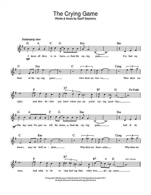Geoff Stephens The Crying Game sheet music notes and chords. Download Printable PDF.